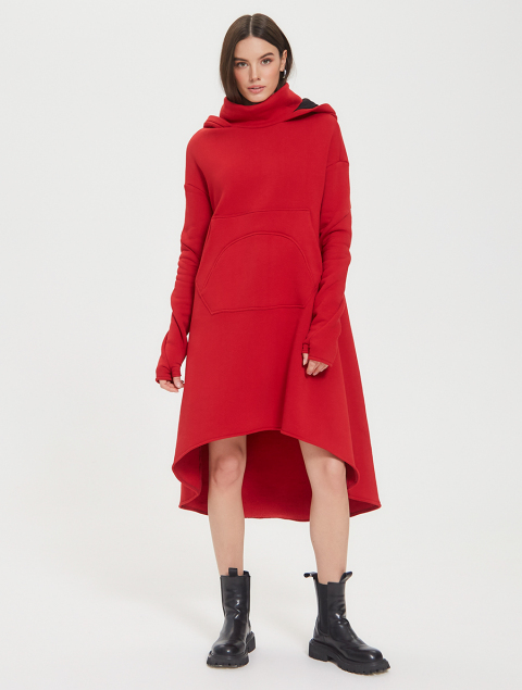 Ассиметричное платье-туника из трикотажа
