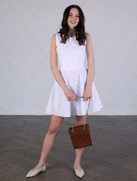 Платье белое льняное