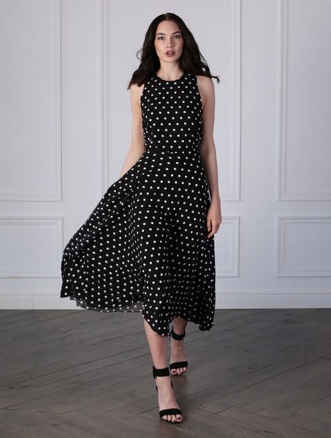 Платье черное в белый горох