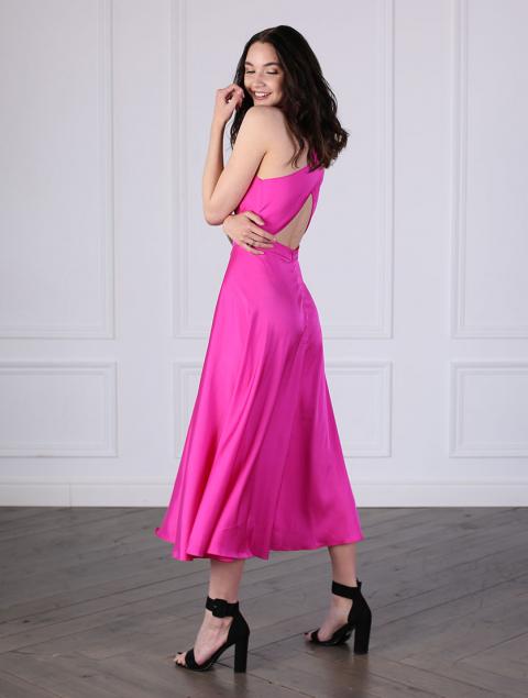 Платье розовое длинное